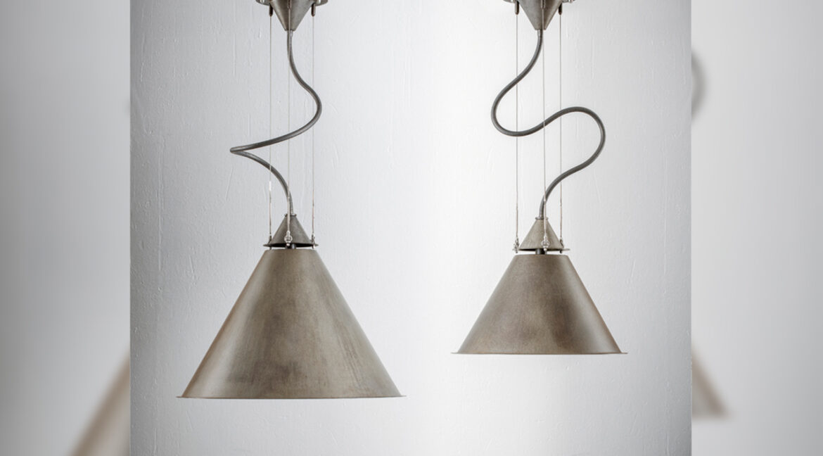 CALÀ - antiqued steel suspensions lamp